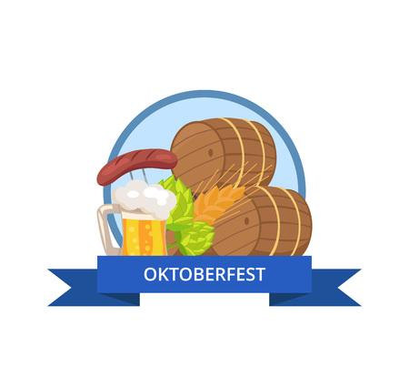 Oktoberfest Logo Design with Wooden casks Beer Mug