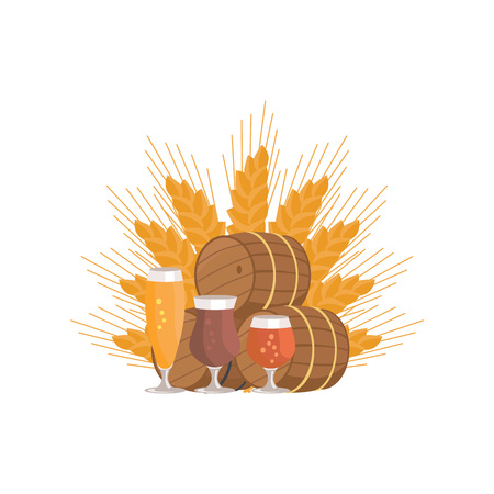 Beer Degustation at Octoberfest celebration  Vector Illustration