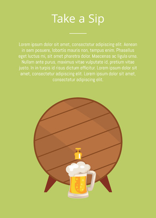 Take a Sip Poster Depicting Wooden Barrel with Tap Illustration