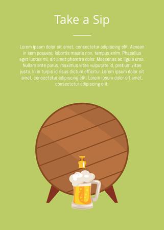 Take a Sip Poster Depicting Wooden Barrel with Tap Ilustração