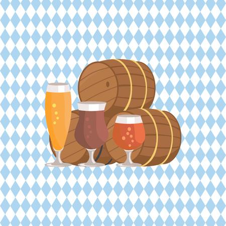 Three Beer Barrels for Liquor Degustation on a blue checkered background Vector Illustration