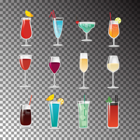 Delicious Alcohol Cocktails for Good Summer Party on a black checkered background