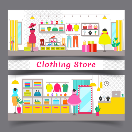 Clothing Store Full of Chic Fashionable Garments, flat style design