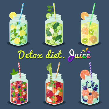 Detox Diet Juices with Fruits Vector Illustration.