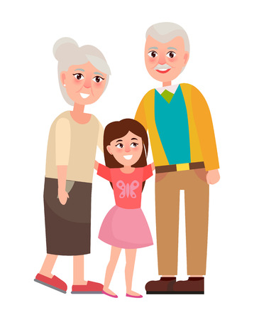 Senior Grandparents with Granddaughter, Isolated on white Çizim