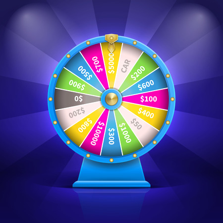 Car and Money Fortune Wheel on a dark blue Vector Illustration