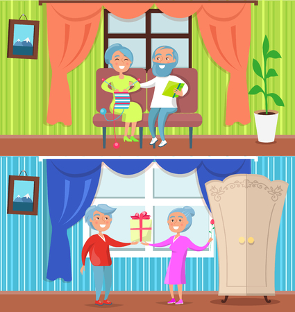 Happy Older People at Home Set of Illustrations