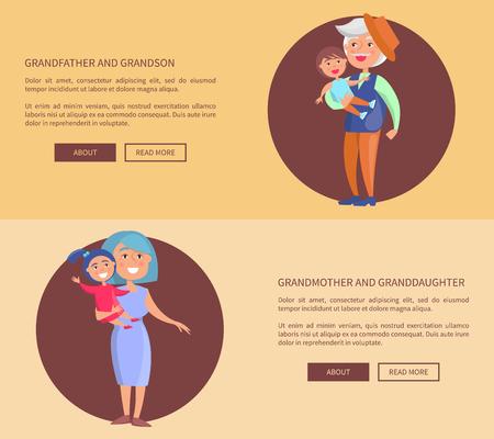 Grandparents Granddaughter and Grandson Posters Illustration