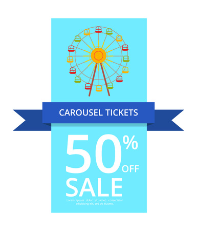 Carousel Tickets with 50 percent Off Sale Vector Illustration