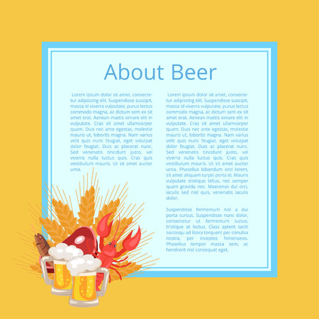 Trivia About Beer Poster with Text on Light Blue Square