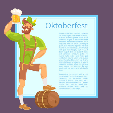 Oktoberfest Poster Depicting Bearded Man with Mug