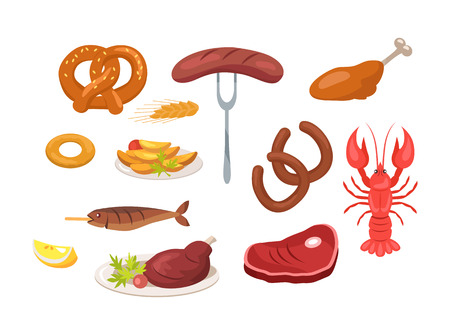 Set of Food and Snack Icons Vector Illustration