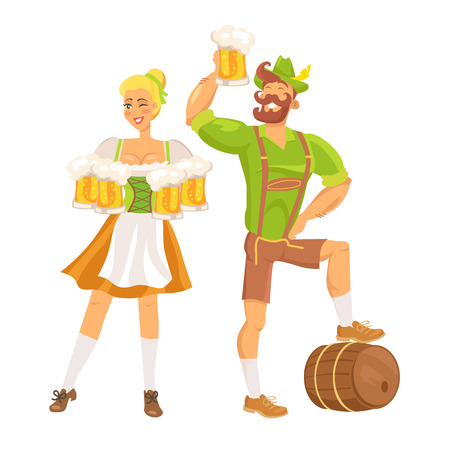 Waitress and  Waiter in a Traditional Costume Vector Illustration