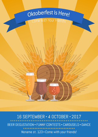Oktoberfest is Here 2017 banner or poster background Vector Illustration