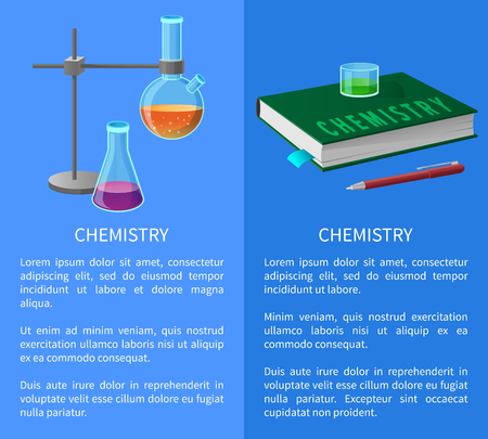 Textbook and Chemistry Tools Isolated vector Illustration
