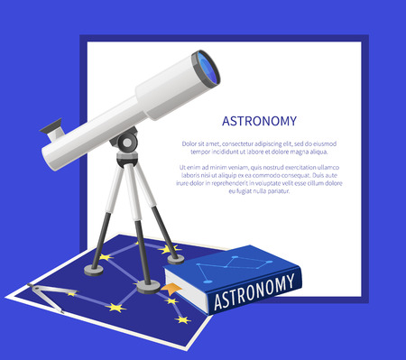 Astronomy Banner with Frame Place for Text Vector Stock Photo
