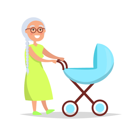 Senior lady with long grey braid carrying trolley pram taking care about newborn child vector illustration isolated on white background