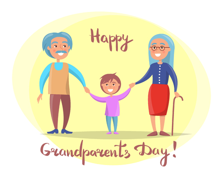Happy grandparents day poster with senior couple walking with grandson holding hands vector illustration postcard in circle on white Illustration