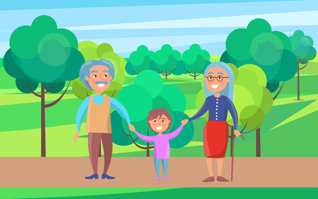 Happy grandparents senior couple walking with grandson holding hands on background of green trees in park vector illustration