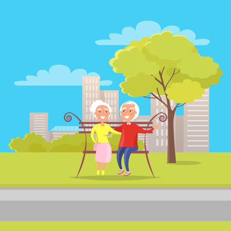 Happy grandparents day poster with senior couple sitting on bench together, old husband and wife together on background of skyscrapers in city park vector illustration Illustration