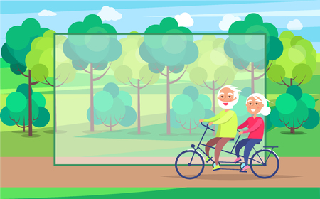 Happy mature couple riding together on bike on background of green trees in park vector with frame for text. Husband and wife on retirement Ilustrace