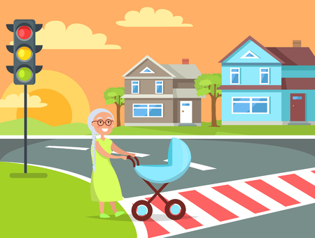 Grey hair lady with braid going to pass road on crosswalk pushing pram rural landscape with cottage houses vector illustration poster with traffic light Illustration