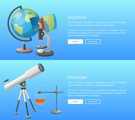Education web banner with geography and astronomy classes informative Internet page with globe model and powerful telescope vector illustrations. Illustration