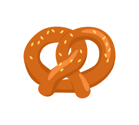 Pretzel crisp biscuit baked in form of knot and flavored with salt vector illustration isolated on white. Tasty snack, delicious bakery with sesame