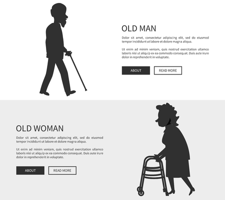 Old man and woman set of web banners silhouettes with grandpa holding walking stick and grandma with helping walkers vector illustrations isolated