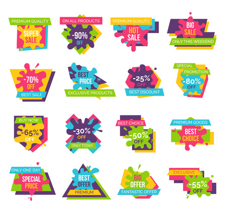 Premium sale and big sale design set of variants on vector illustration on white background, including different styles and colors.