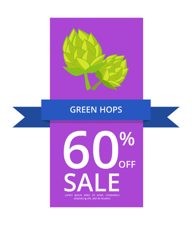Green hops 60 off sale written on blue ribbon and purple background vector illustration, there is place for putting your own text.