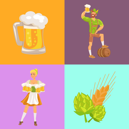 Beer and symbols of oktoberfest vector illustration depicting waitress and man in traditional german costumes holding drinks, hob and wheat Illustration