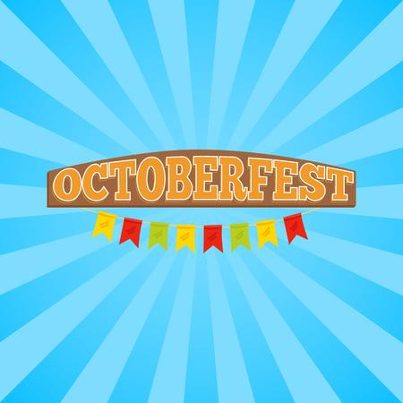 Oktoberfest promobanner die titel in houten die stijl vertegenwoordigen met kleurrijke linten op gestreepte vectorillustratie wordt verfraaid als achtergrond Stock Illustratie