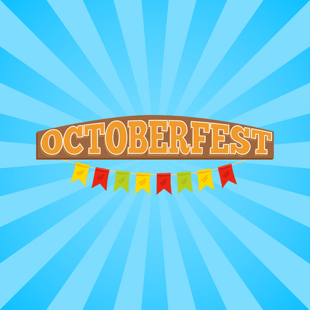 Oktoberfest promo banner representing title in wooden style decorated with colorful ribbons on striped background vector illustration