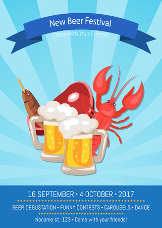New beer festival, come with your friends, program of festival includes degustation and funny concerts, promo banner vector illustration on background with rays Иллюстрация