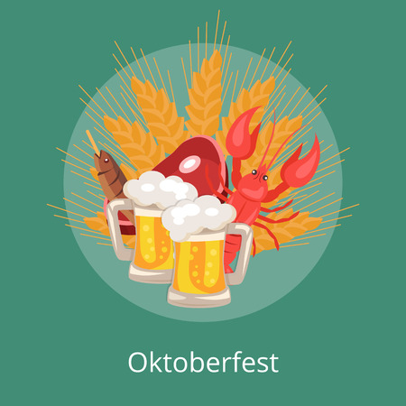 Oktoberfesr logo design with of two pints of beer, snacks piece of ham, dry fish, crayfish and wheat at octoberfest, vector Illustration on green Illustration