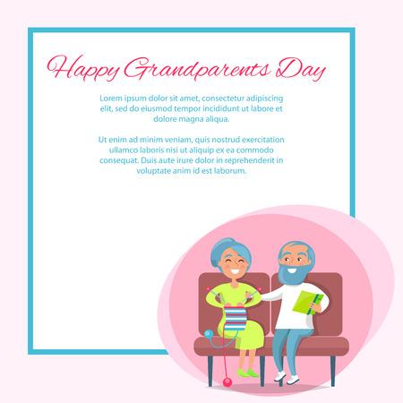 Glückliches Großelterntagesplakat mit Strick- und Herrlesung älterer Dame auf Sofa. Standard-Bild - 90237465