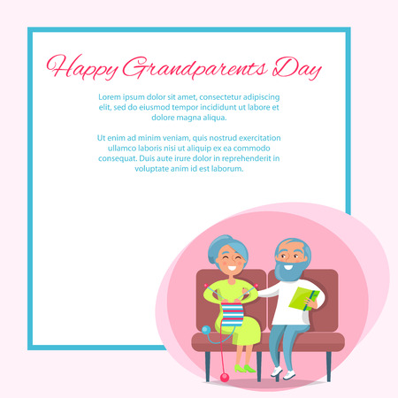 Happy grandparents day poster with senior lady knitting and gentleman reading on sofa. Иллюстрация