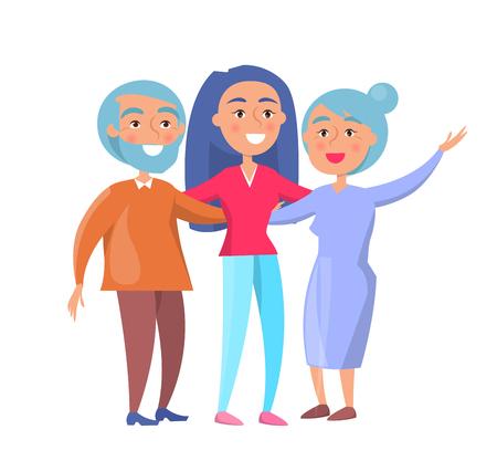 幸せな成熟した家族の妻と夫と育った娘または孫娘のベクトル図は、白で隔離。家族漫画のキャラクター  イラスト・ベクター素材