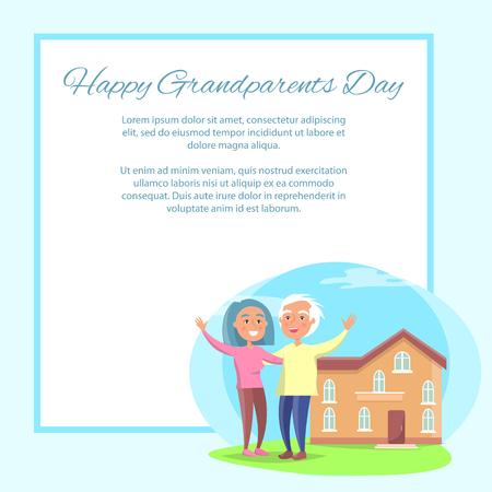 フレーム内のテキストの場所を持つベクターの手ホーム 2 階建ての建物の波の前に年配のカップルで幸せな祖父母の日」ポスター