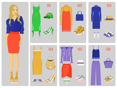 Stylish modern girl with outfits set that includes light dresses, bright skirt, extravagant blouse, loose pants and basic shirt vector illustrations. Illustration