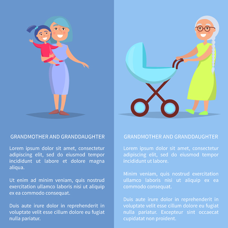Grandmother and granddaughter posters with senior lady with trolley pram taking care about newborn child and walking with child vector set Illustration