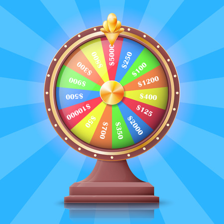 Colorful wheel of fortune with money prizes.