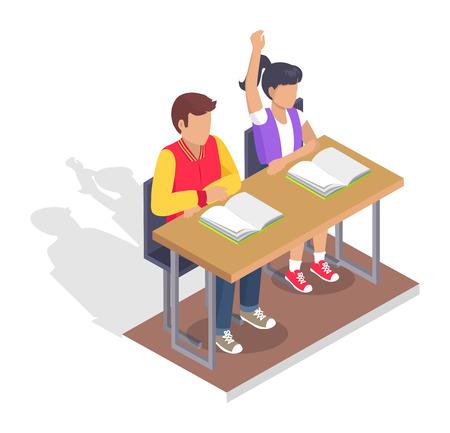두 학생 소년과 소녀 열려 교과서와 책상에 앉아.