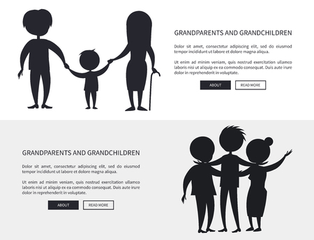 Grandparents and grandson little and grown up set of web posters black silhouettes. Illustration