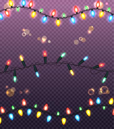 Colourful Glowing Christmas Lights Illustration Vektorové ilustrace
