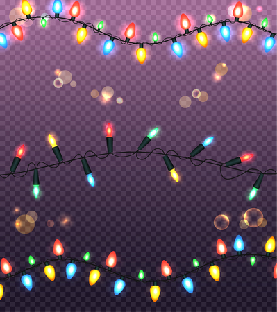Colourful Glowing Christmas Lights Illustration Illustration