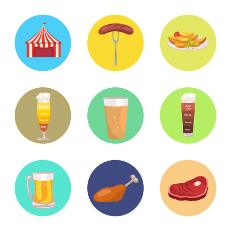 Nine Images of Octoberfest Vector Illustration Illustration