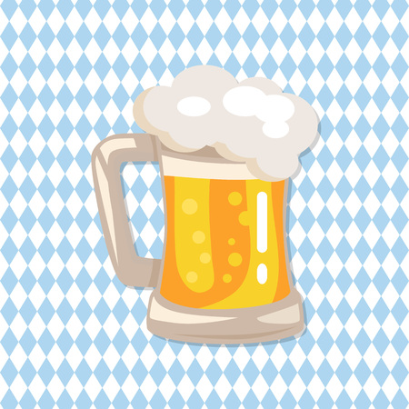 Traditional glass of beer with white foam and bubbles illustration. Illustration