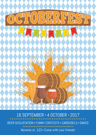 Oktoberfest promotional poster with checkered backdrop. Illustration